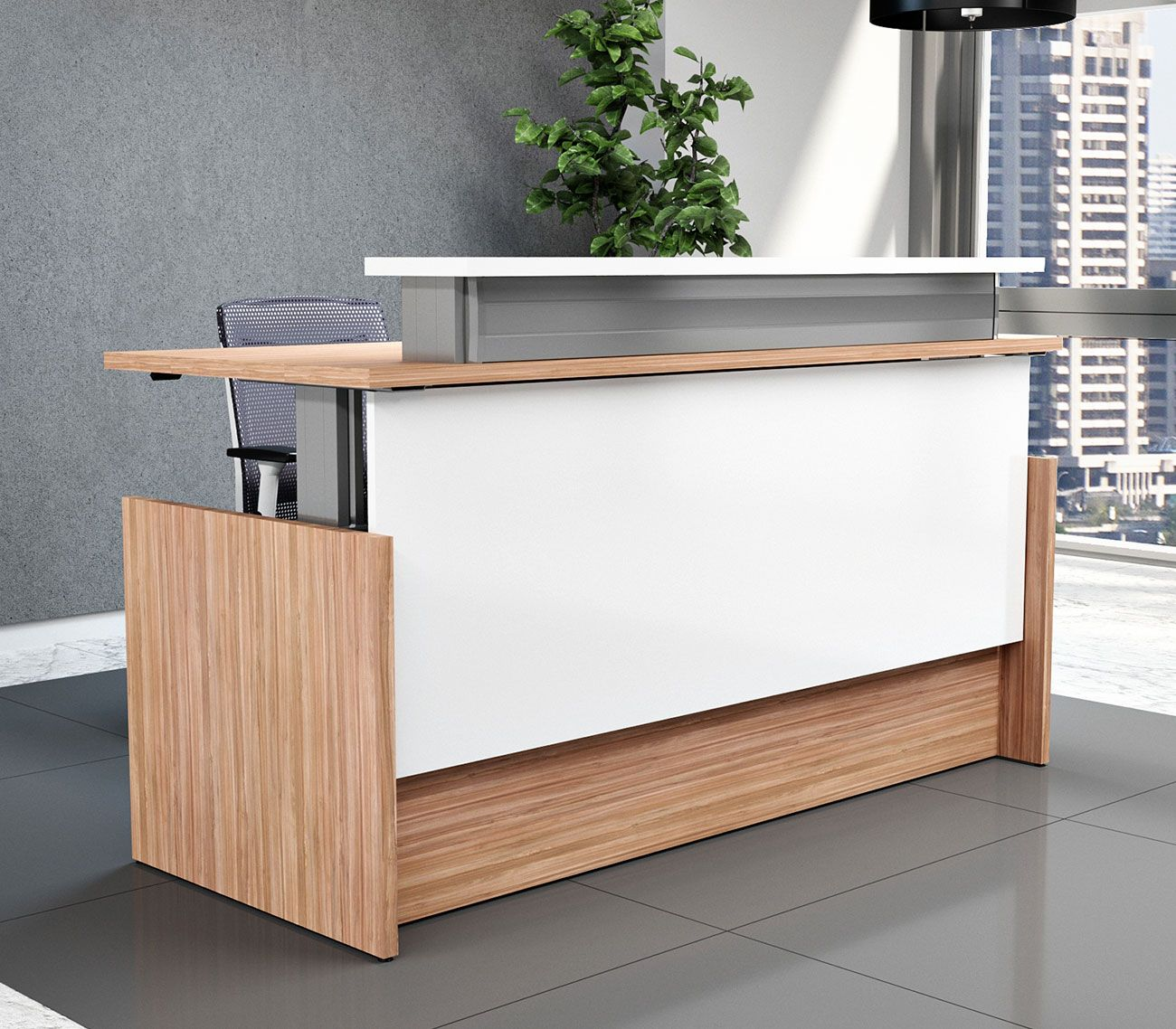 Right Angle Presidente Height Adjustable Reception Desk