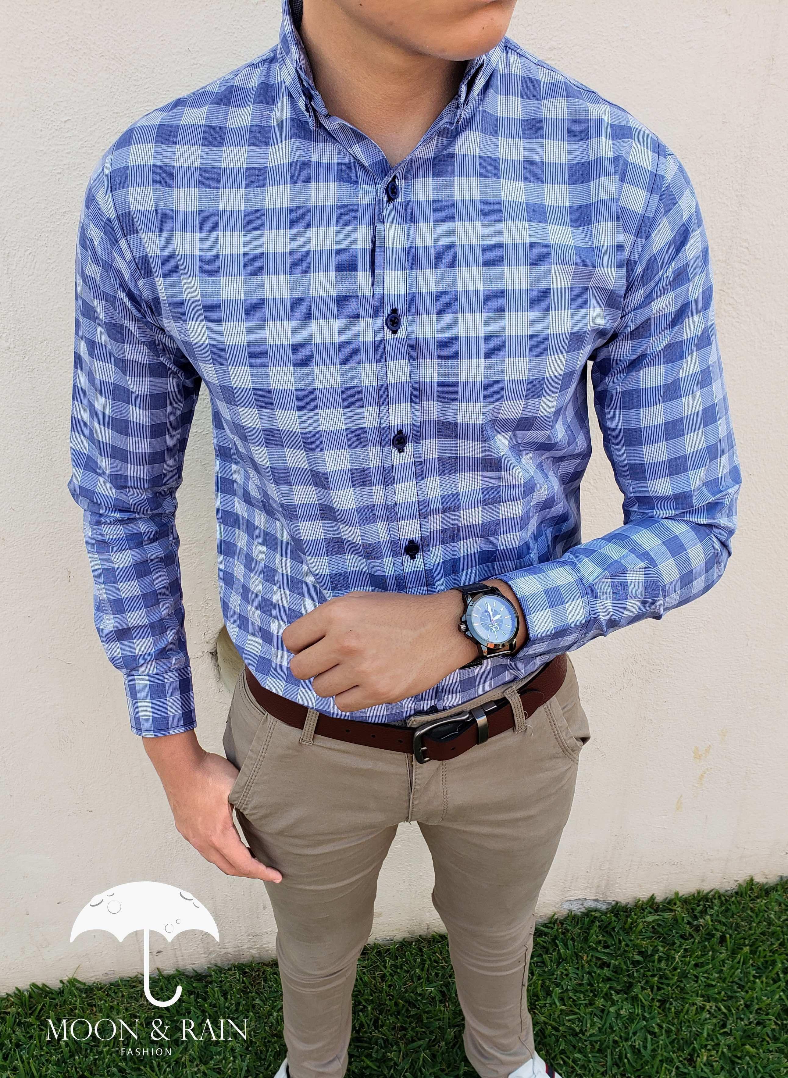 c932618ed7 Camisa de cuadros azul y gris para hombre