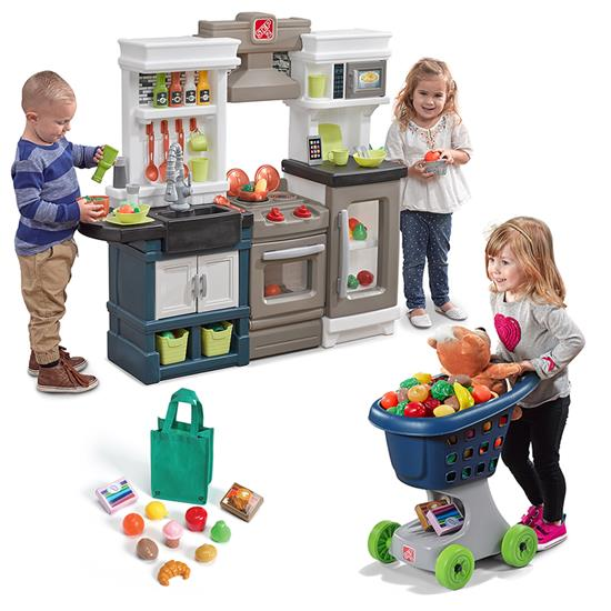 Little Chef S Kitchen Play Set Kids Pretend Play Toy Shopping Cart Chefs Kitchen
