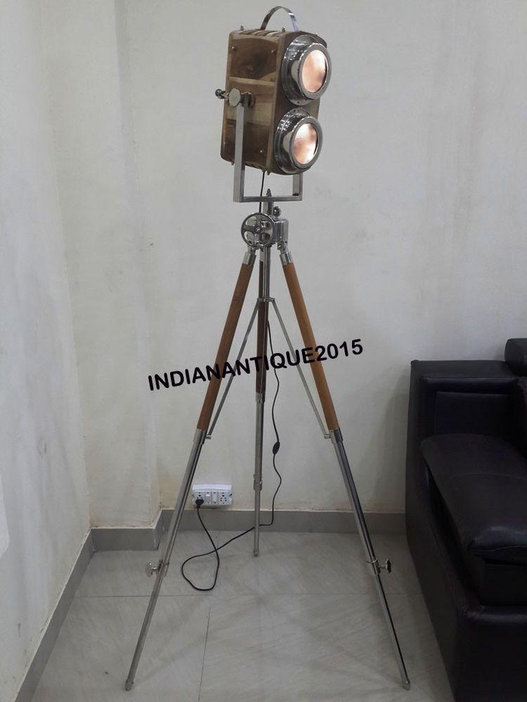 Nautical Camera Spotlight Floor Lamp Wooden Vintage With Tripod