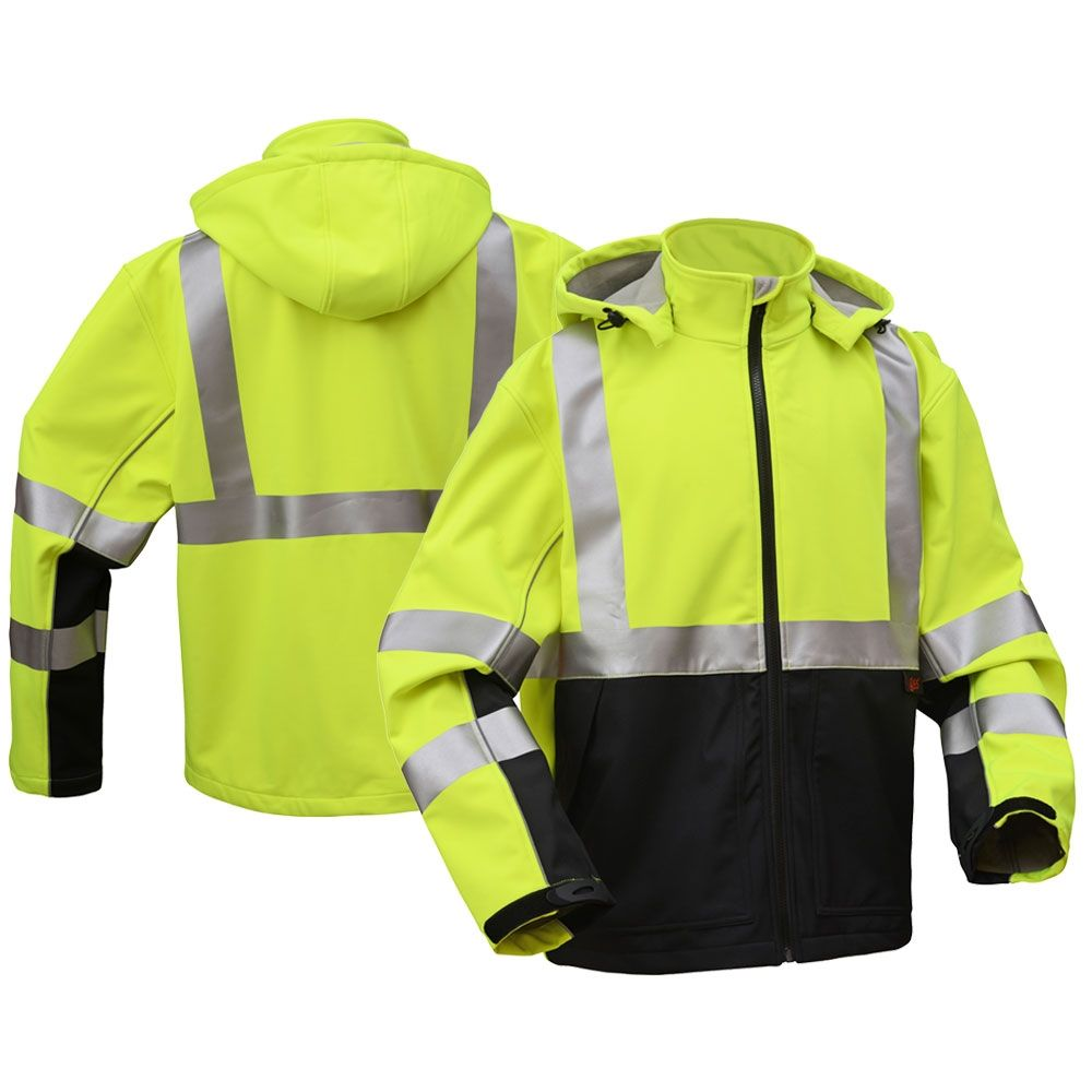 Gss Safety 7515 Class 3 Hivis Hooded Black Bottom Softshell Jacket With Images Black Bottoms Soft Shell Jacket Softshell