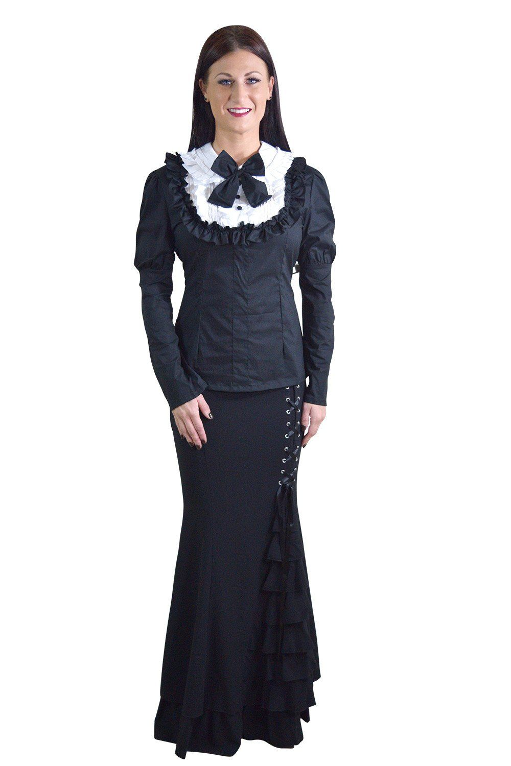 Gothic lolita black u white ruffle long sleeves blouse top products