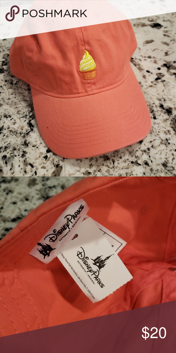 Disney Dole Whip Cap Brand New Never Worn Coral With Yellow Dole Whip Logo From Disney World Disney Accessorie Clothes Design Fashion Design Women Shopping