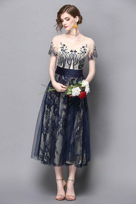 1548176b9282f  楽天市場  送料無料 パーティードレス 花柄 刺繍 レース 半袖 ネイビー