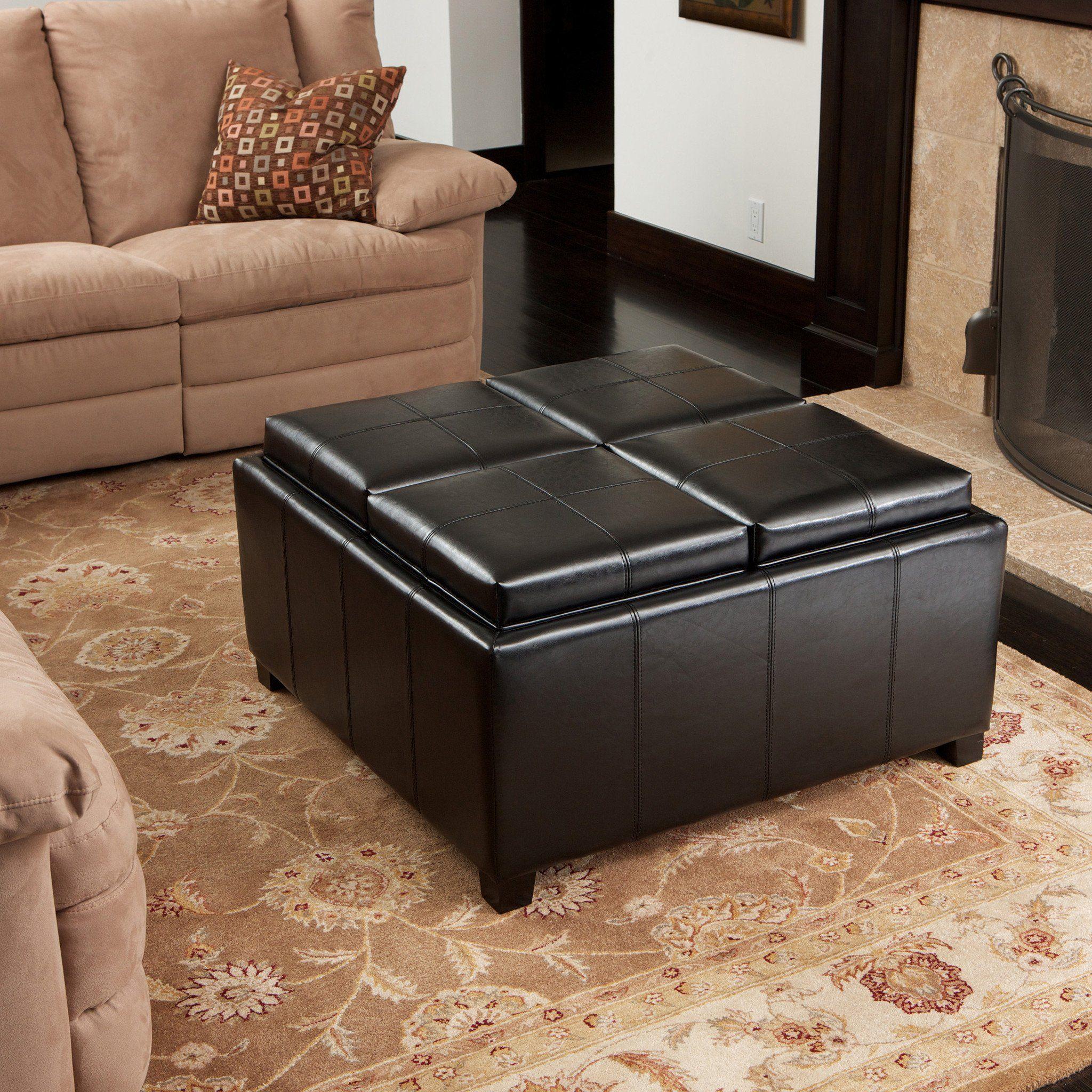 Harley Leather Black 4 Tray Top Storage Ottoman