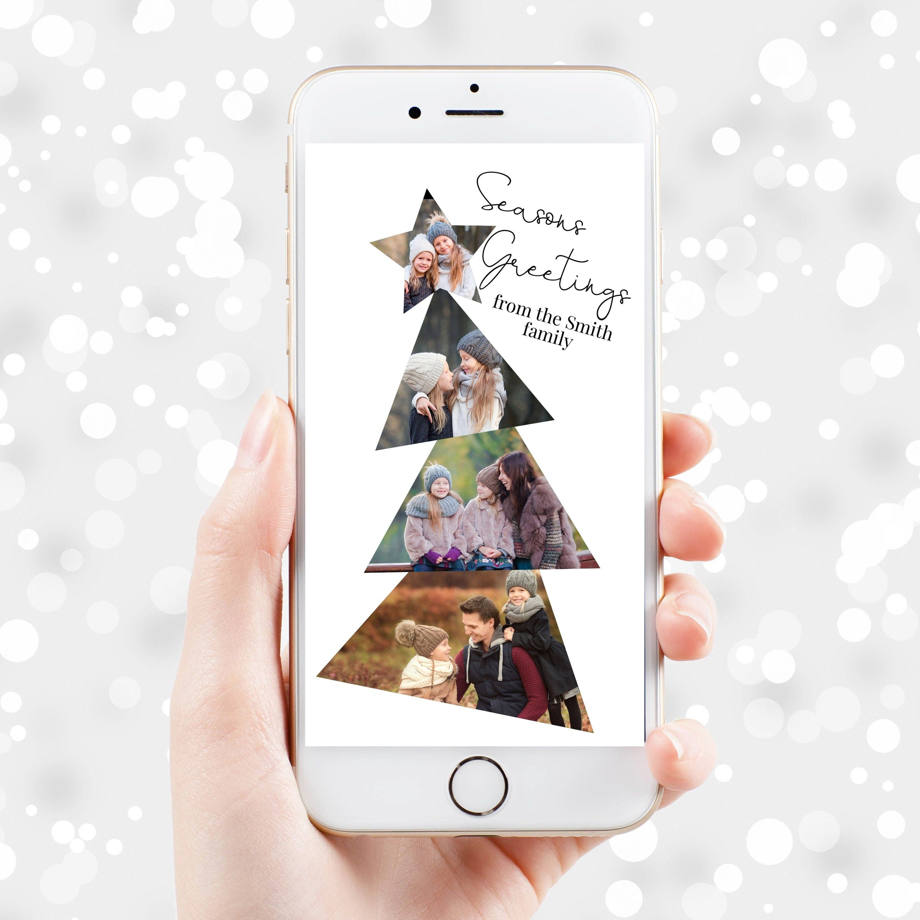 Christmas Tree Electronic Photo Card Happy Holidays Text Etsy In 2020 Electronic Christmas Card Christmas Card Template Photo Cards