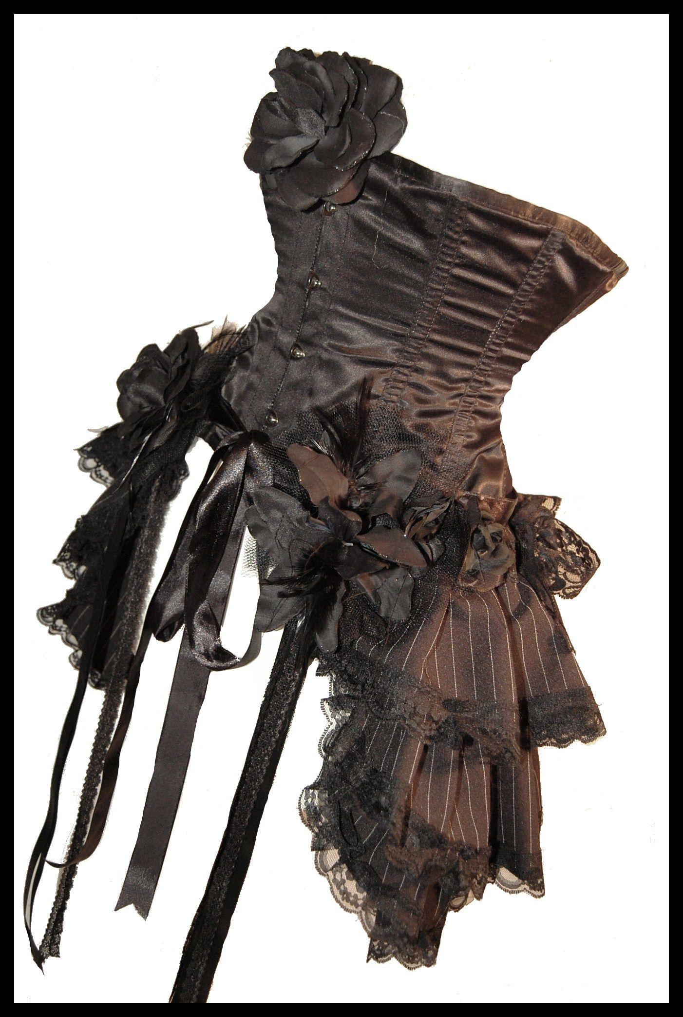 I want this SOOOO Bad!!!  VV DARKLY NOON Steampunk Aristocratic Steampunk Gothic Bustle Plus Size Couture Pinstripe Dandy Skirt - Lovechild Boudoir