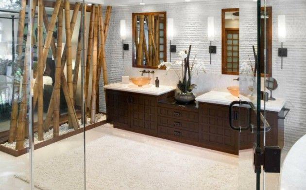bambus deko bambusstangen ideen badezimmer einrichtung dunkles - badezimmer bambus