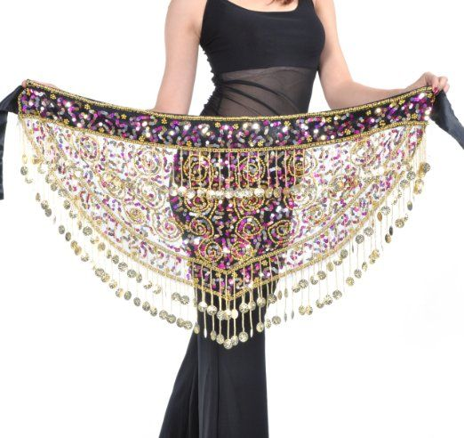 Amazon.com  BellyLady Dangling Dazzling Gold Coins Belly Dance Hip scarf 8edd09a04