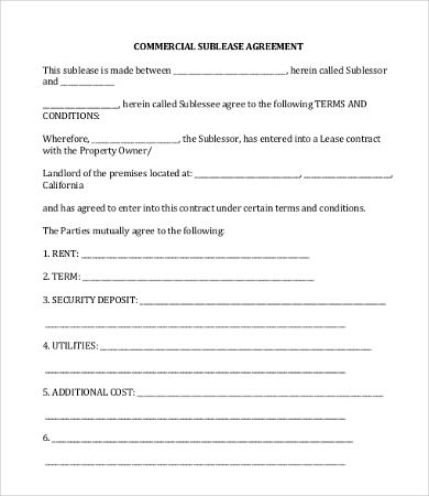 Commercial Sublease Agreement Template   Simple Commercial Lease
