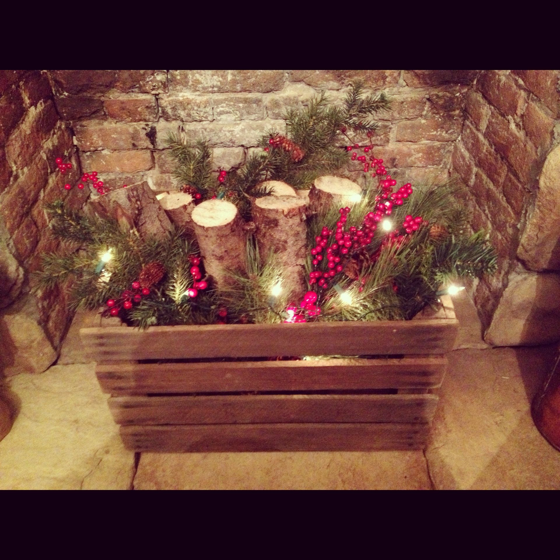 DIY fireplace insert I cant wait til Christmas I am going to try