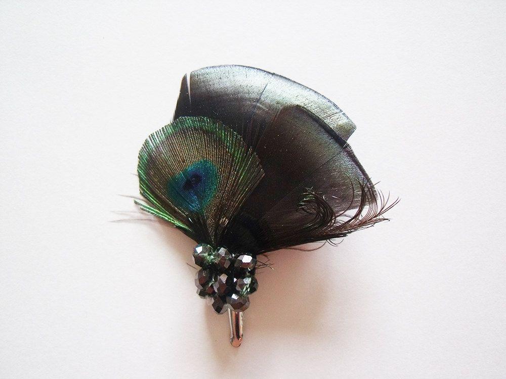 Bridal Fascinator - Peacock Bridal Fascinator - Bridal Feather Fascinator - Peacock Fascinator - Bridal Headpiece. $22.95, via Etsy.