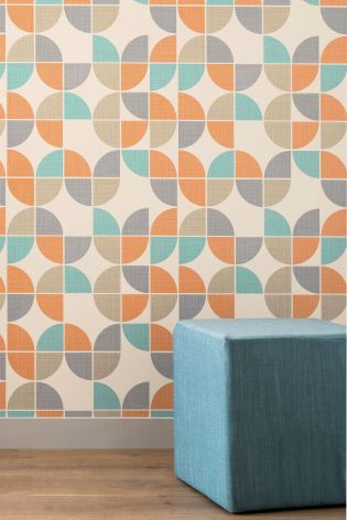 Dare to be bold this year with this retro geo print wallpaper from our studio range