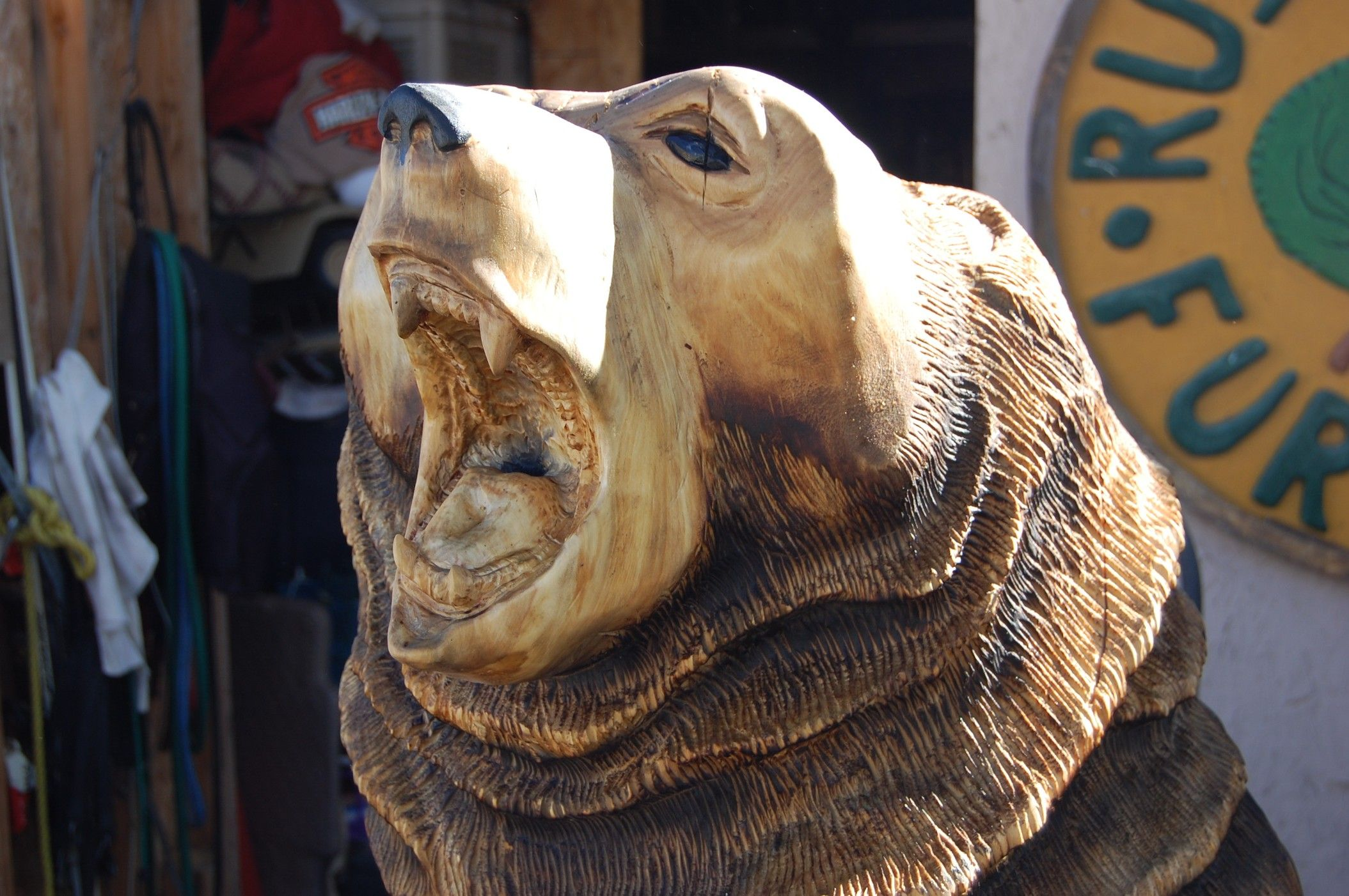 Bear closeup chainsaw carving pinterest