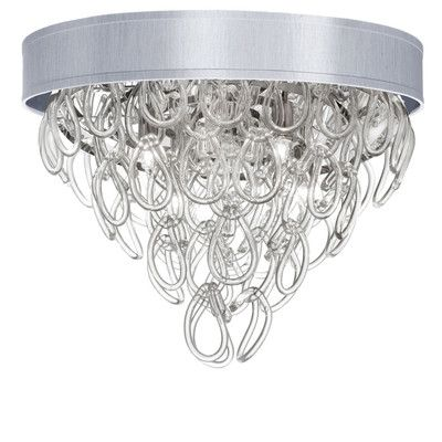 Wade Logan Arian 4 Light Flush Mount Shade Color: Silver
