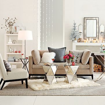 Faceted Mirror Side Table In Living Room   (West Elm )