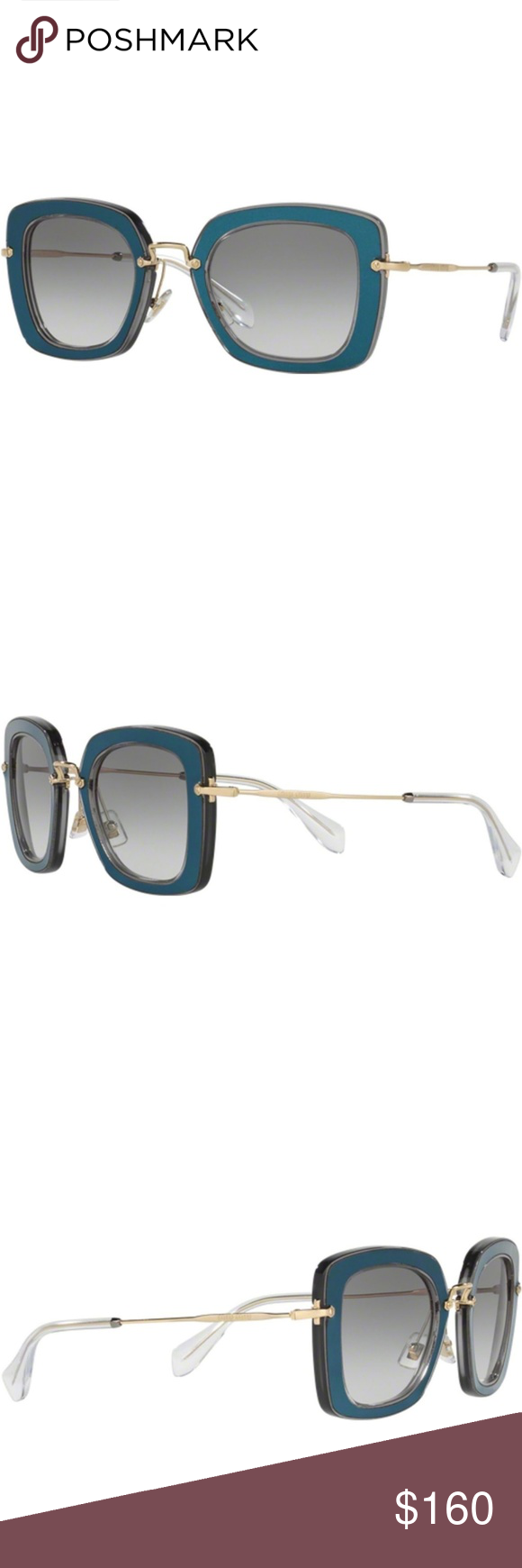 f620d5167fca Miu Miu Rectangular Sunglasses by Prada Blue  Gray 100% Authentic Miu Miu  Women s Sunglasses are a masterpiece of creativity and authenticity in  every pair.