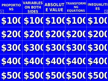 Solving Equations and Inequalities Jeopardy® | Teaching