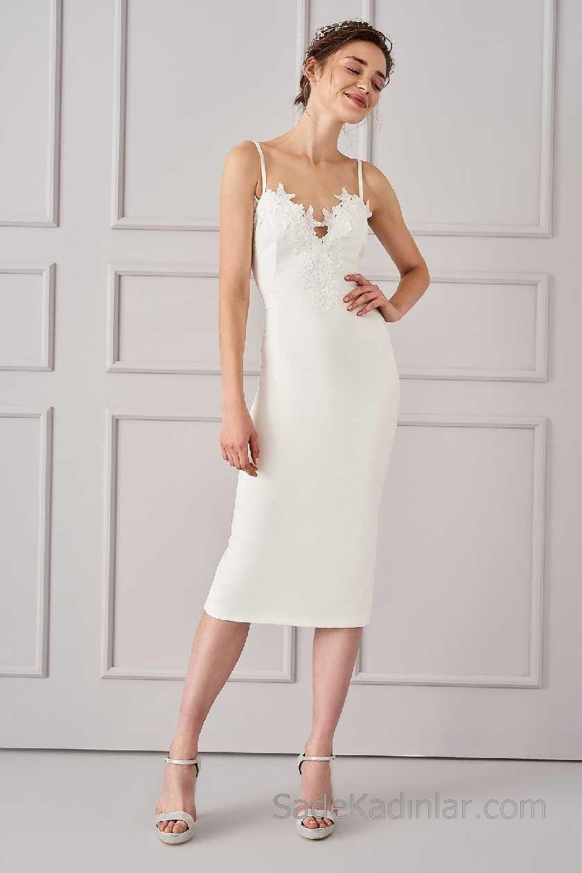 2018 Beyaz Elbise Modelleri Askili Dantelli Yaka Elbise Modelleri Elbise Elbiseler