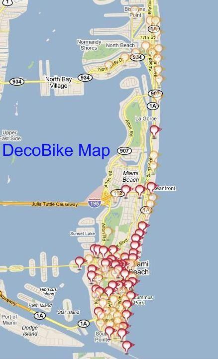 miami beach bike map | lake sunset, north beach, beach bike