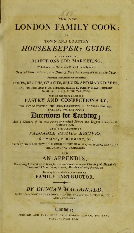 The New London Family Cook By Duncan Macdonald 1800 Archive