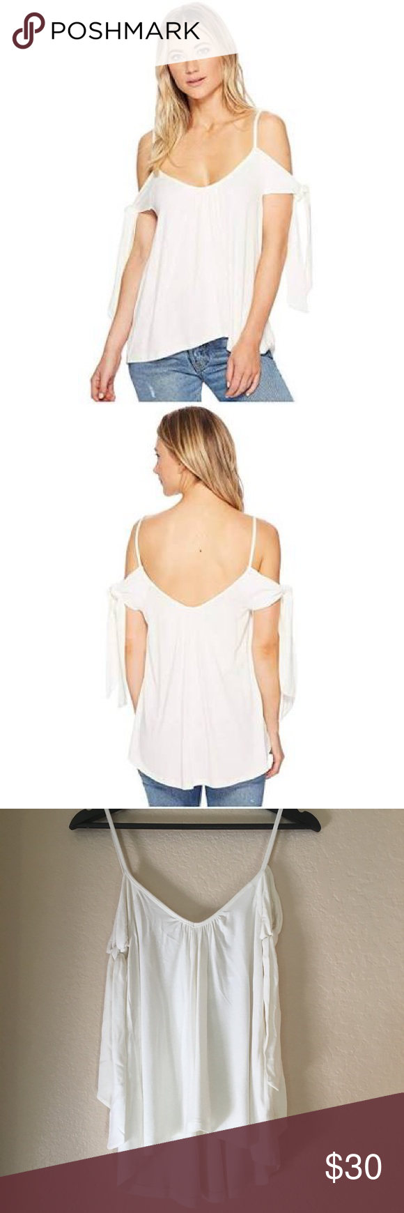 ea916058a50d2a Free People Believe Me Cold Shoulder Top Size XS NWT Free People White Top  with tie