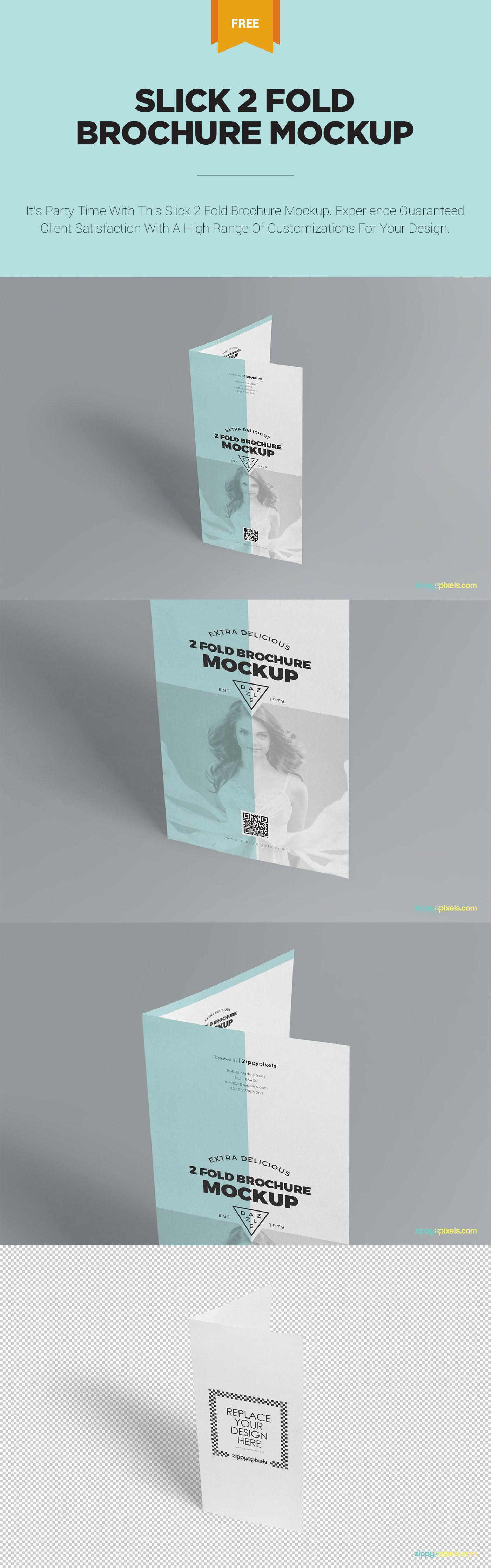 Slick Free 2 Fold Brochure Mockup Psd Zippypixels Brochure Mockup Psd Mockup Psd Brochure