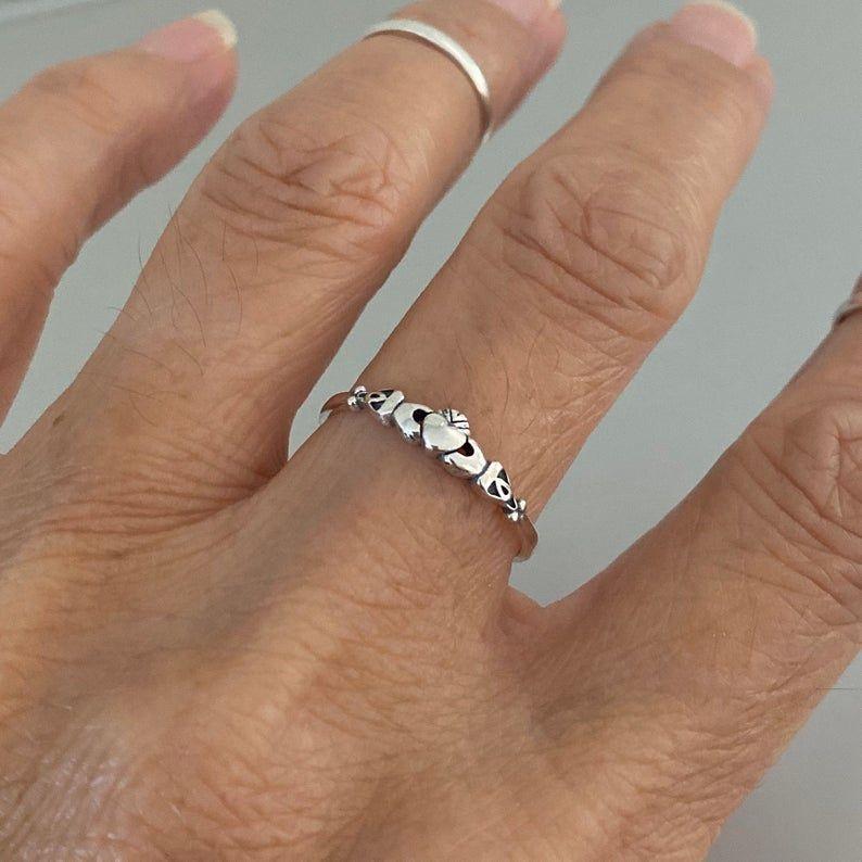 Sterling Silver Tiny Irish Claddagh Ring Dainty Ring