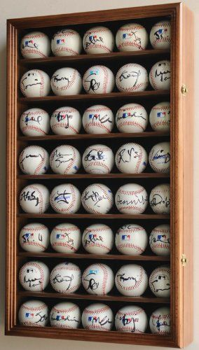 40 Baseball Display Case Cabinet Holder Wall Rack W Uv Protection