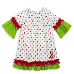 Bright Dot Green Dot Ruffle Dress #little #girl #outfit #Christmas #holiday #kids #fashion