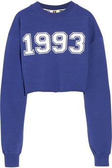 Royal blue Cropped cotton terry sweatshirt | MSGM