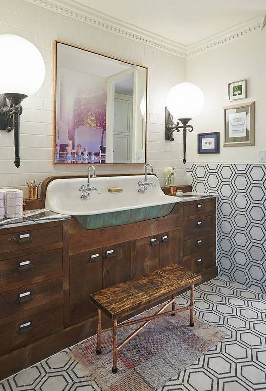 See a modern makeover take on 1920 s bathroom decor  Bathroom makeovers for  guest or childrens. makeover  a modern take on 1920 s bathroom decor   Bathroom