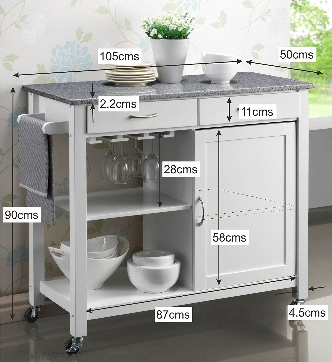Harrogate White Painted Hevea Hardwood Kitchen Trolley Island With Grey Granite Top Large Island Cart 10 Mesa Auxiliar Cocina Muebles De Cocina Mesas De Cocina