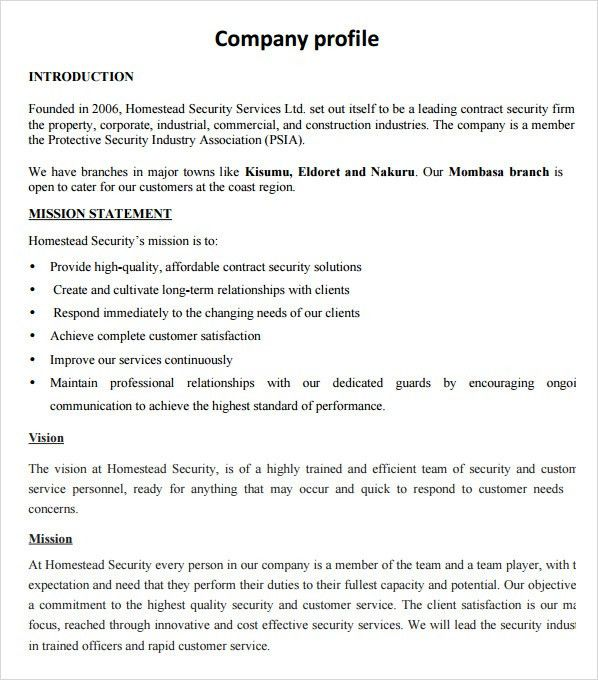 Sample Company Profile Sample 7 Free Documents In Pdf Word Sample