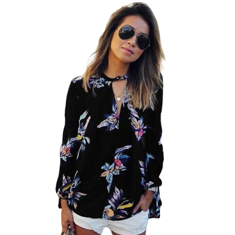 2c54826edfc15 MIXMAX Women Floral Print Chiffon Irregular Blouse Shirts (Medium