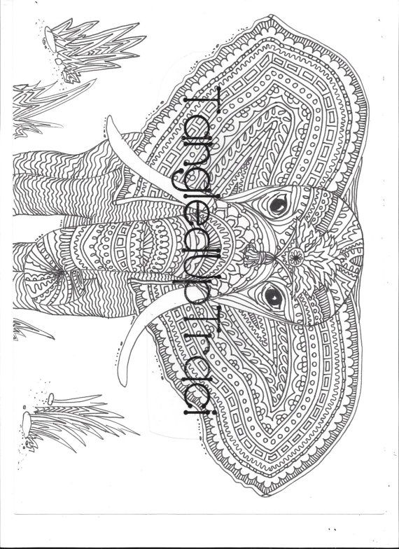 Detailed and intricate elephant zentangle coloring page to download ...