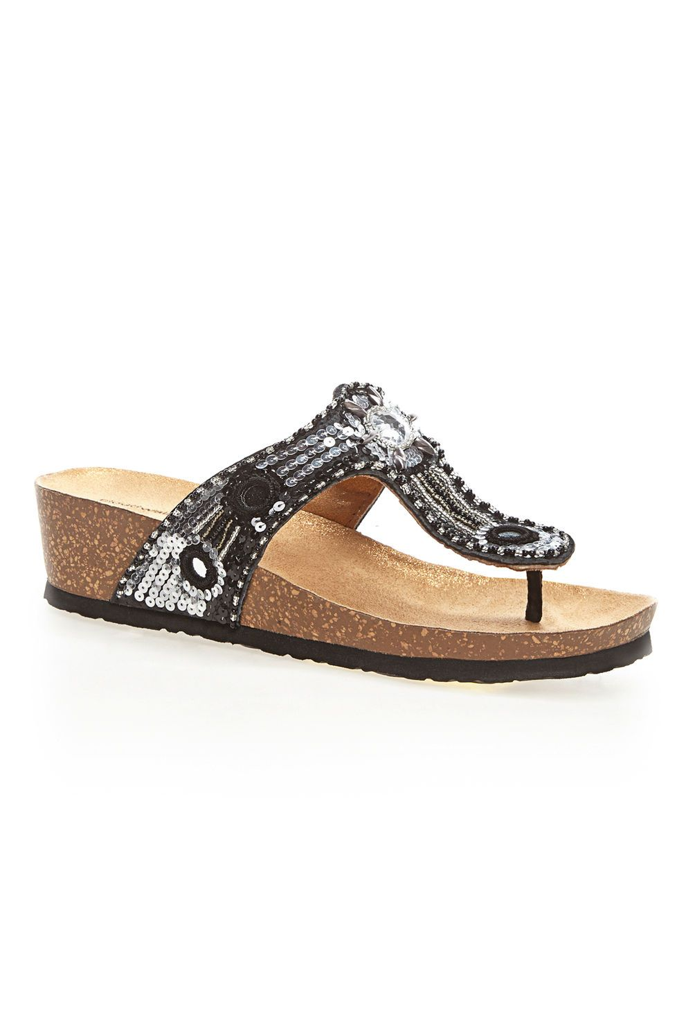 5cc7f9252353 Grayson Jeweled Thong Cloudwalkers® Comfort Sandal-Wide Width Shoes-Avenue