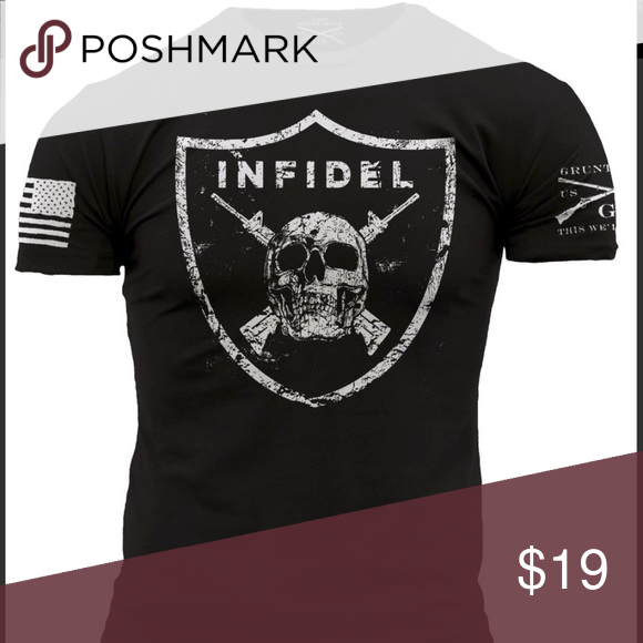 INFIDEL T shirt Mens GRUNT STYLE short sleeve black