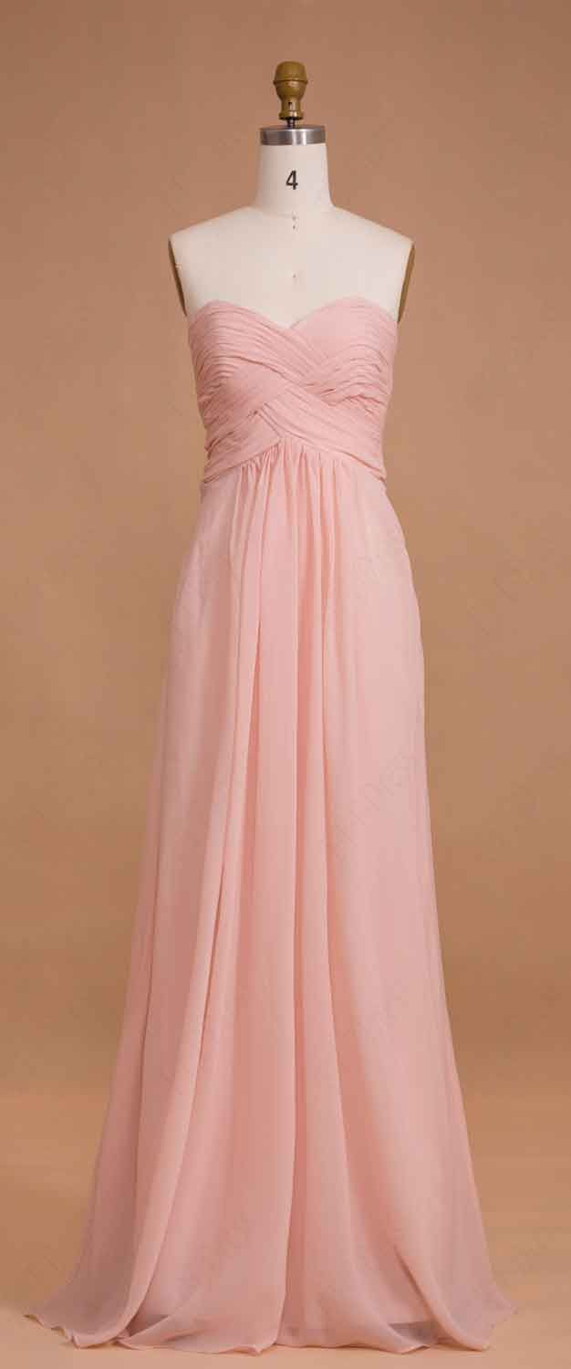Baby pink bridesmaid dresses long sweetheart formal dresses