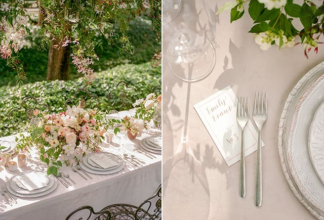 La Tavola Fine Linen Rental: Velvet Oatmeal | Photography: Christina McNeill, Venue: Beaulieu Garden, Floral Design: Loop Flowers, Design: Adelphi Events, Catering: Paula LeDuc Fine Catering, Tabletop: Theoni Collection, Stationery: Milfed Press, Caligraphy: Leigh Wells