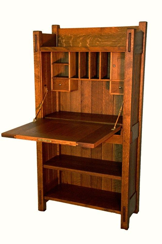 Re Created Gustav Stickley Strap Hinge Writing Desk Craftsman Furniture Woodworking Stickley Furniture Plans