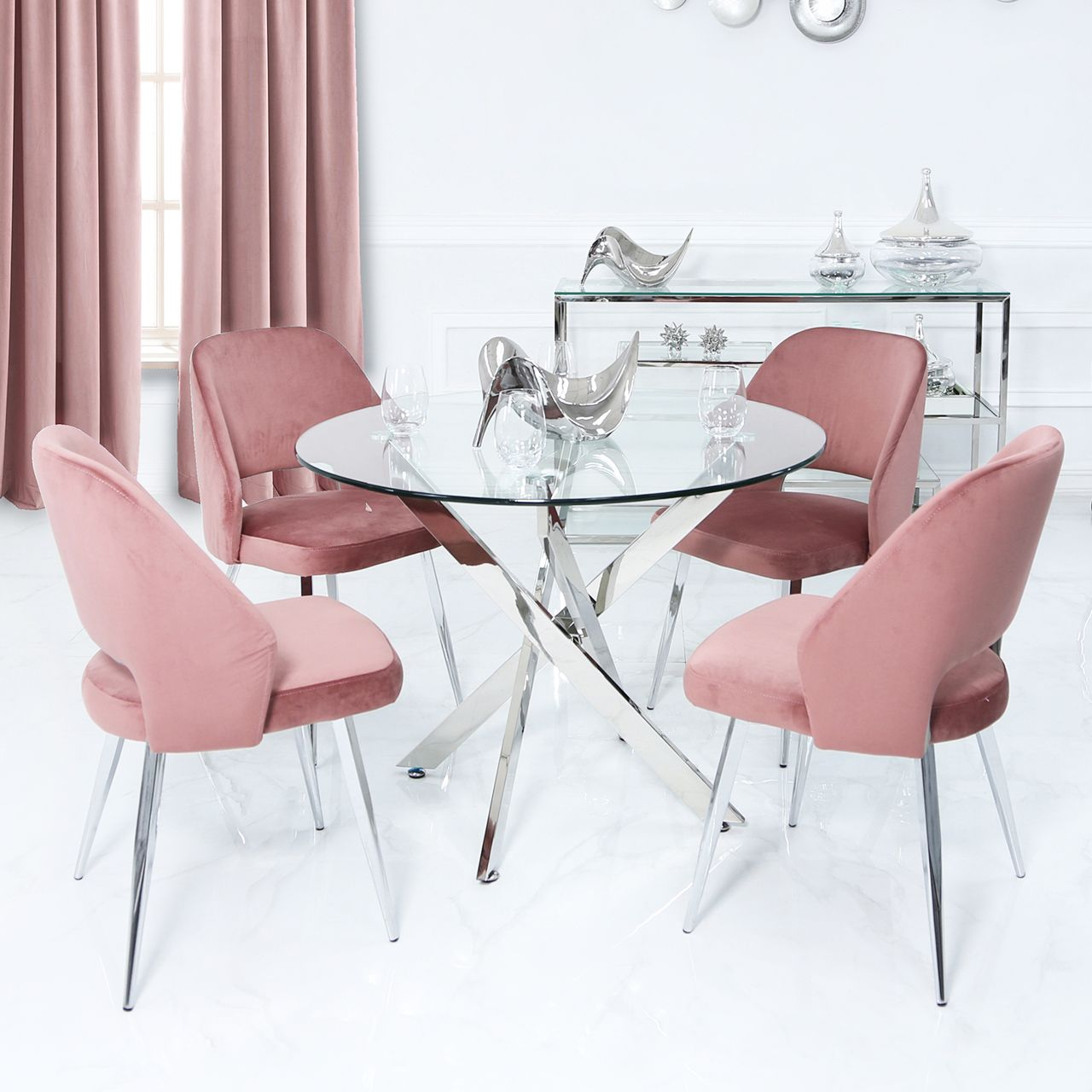 The Nova Dining Table Features A Chrome Crisscross Base With A