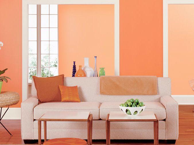 Orange Peach Living Room Super Cute Love The Colors Living Room Paint Paint Colors For Living Room Interior Decorating Living Room