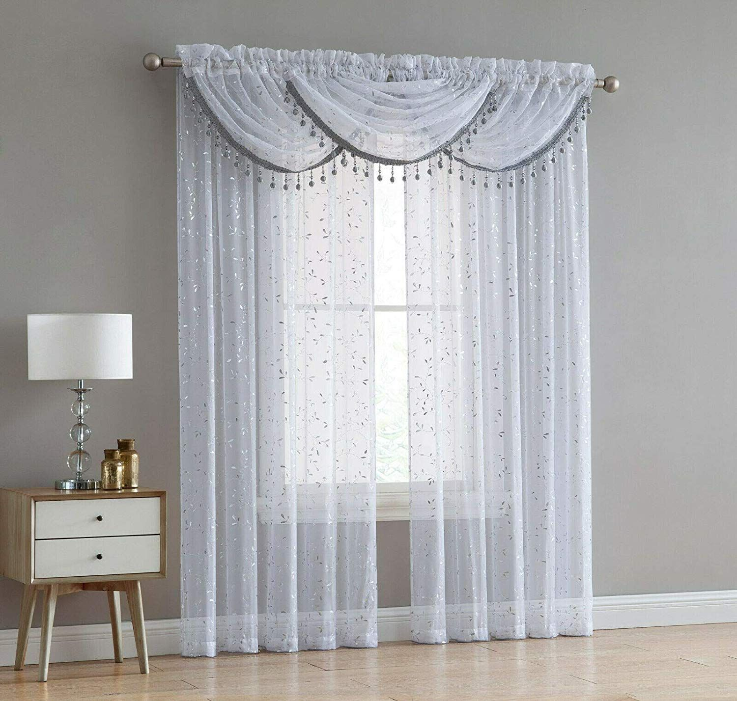 Adeline 5 Piece Sheer Curtain Set With Beaded Austrian Valances And Foil Metallic Design White Silver Walmart Com In 2020 Sheers Curtains Living Room Silver Curtains Sheer Curtain #silver #curtains #for #living #room