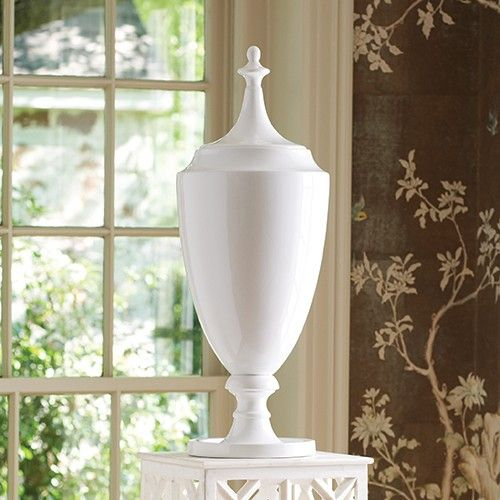 Large Decorative Urns With Lids Global Views Grande Urn With Lid In White  Urn Accent Decor And