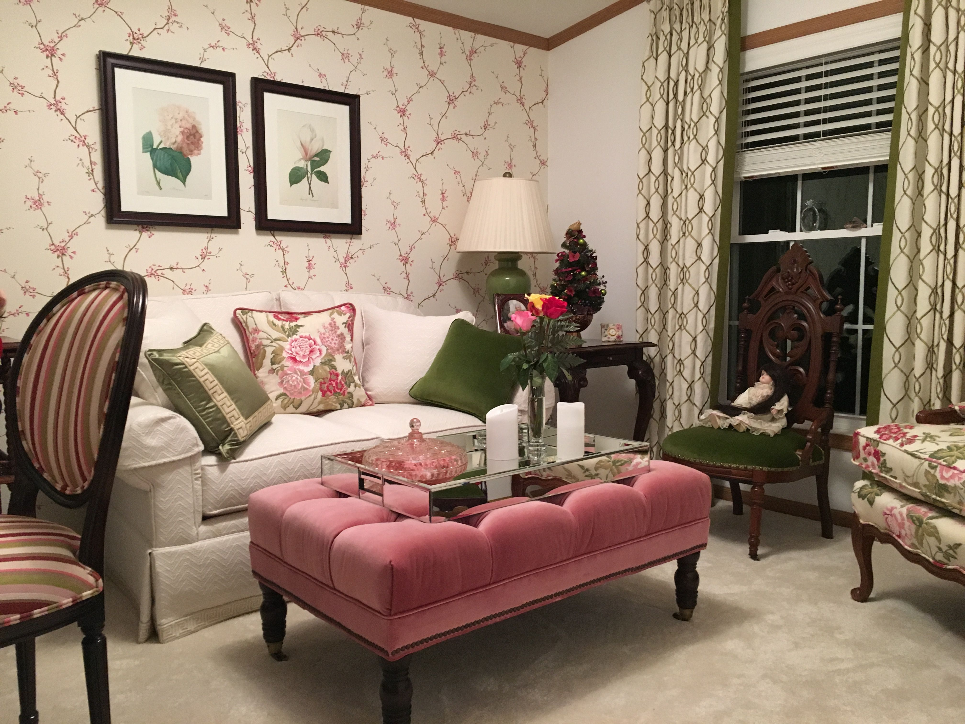 Garden Inspired Sitting Room In Pink And Green With Floral Lattice And Greek Key Patterns Quality Living Room Furniture Living Room Red Home Living Room