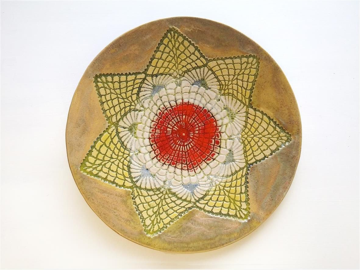 New Sommer Stern Teller Mandala Kunst modern Wand Deko Keramik Teller gelb orange