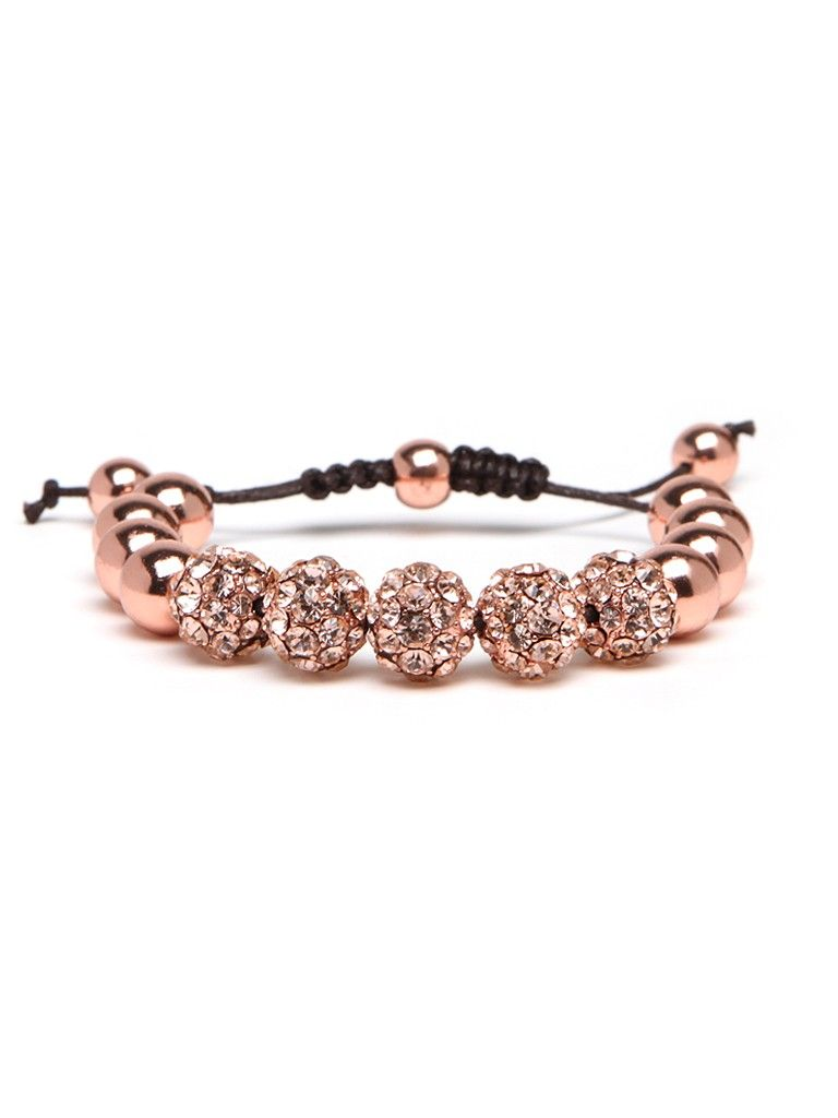The rose gold trend shows no signs of stopping, and this upscale bracelet is the perfect way to put some into your wardrobe.  A classic wrap style is infinitely prettier featuring a gleaming strand of rose-hued sparkle on a dark brown cord.