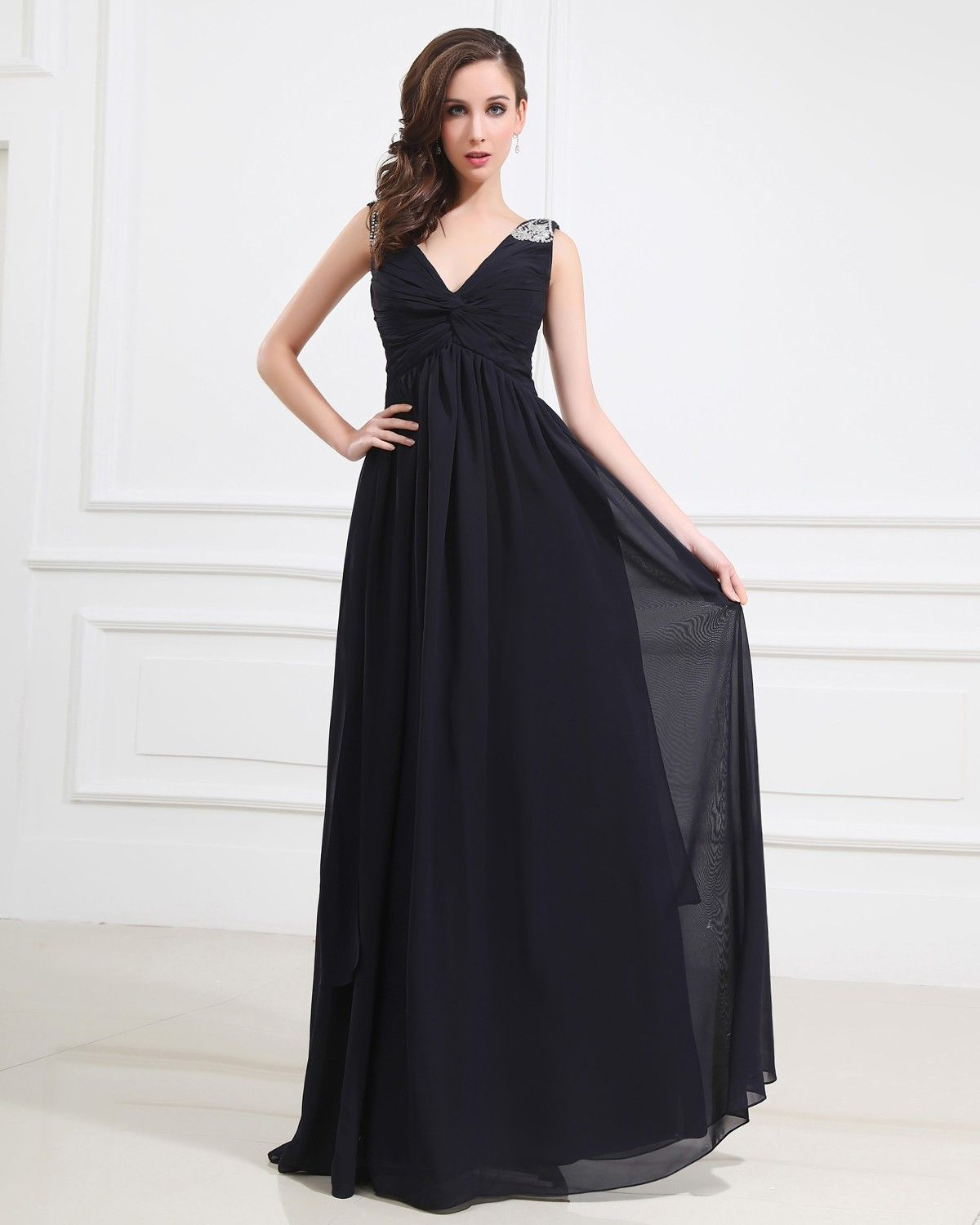 Tailor Made V Neck Applique Ruched Chiffon Navy Prom ...