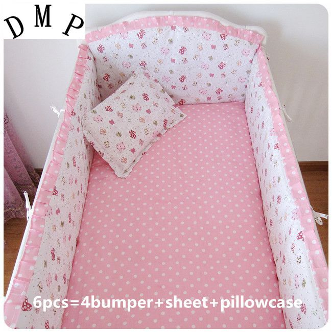 Promotion! 6pcs Pink Crib Baby Bumper Set Baby Cots Bed Linen ...